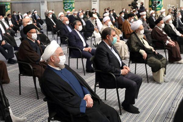 تصاویر حضور روحانی و جهانگیری در دیدار سران قوا با رهبر انقلاب