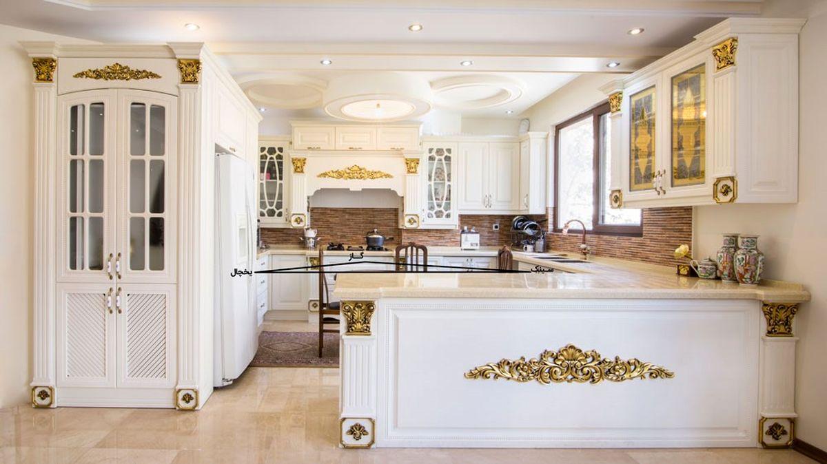 طراحی کابینت ممبران برای آشپزخانه سه گوش