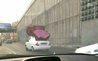 بارکشی در اتوبان به سبک راننده تیبا/عکس