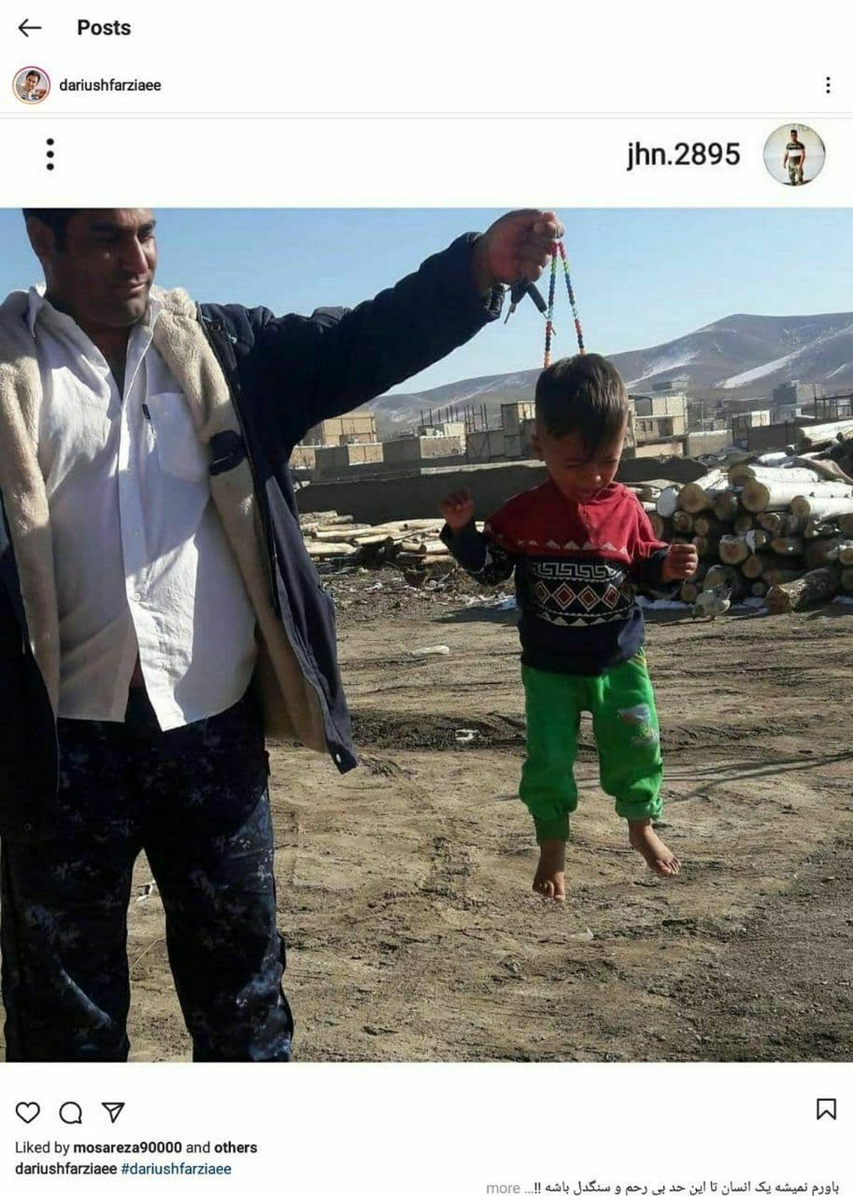 کودک آزاری که با یک طناب طفلی را از گردن آویزان کرد، دستگیر شد+عکس