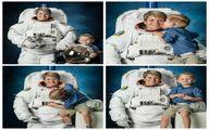 انتشار تصاویر فضانورد ناسا با فرزندش/ عکس
