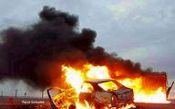 تصادف شدید وانت نیسان با تندر۹۰؛ همه سرنشینان در آتش سوختند/عکس