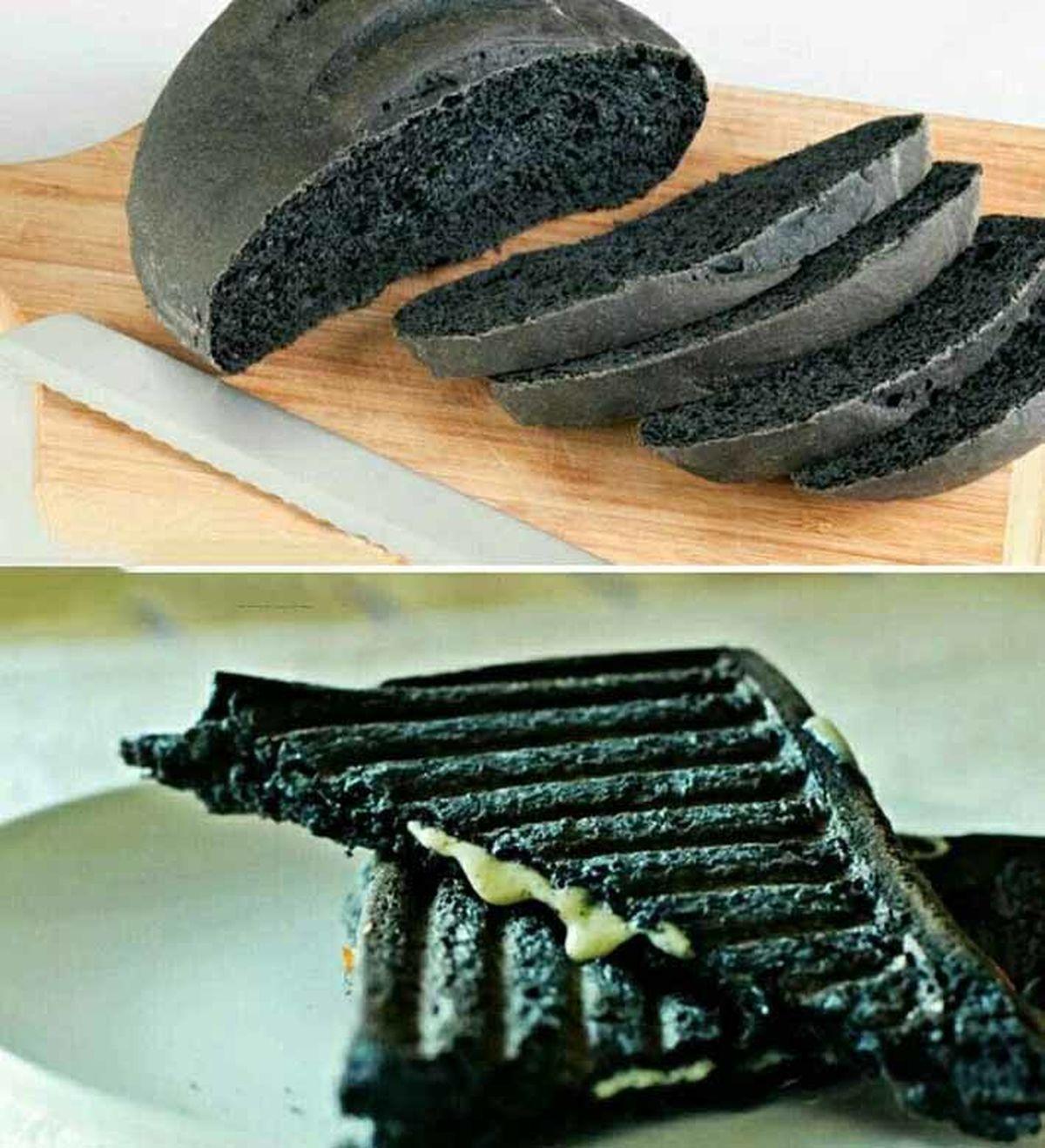عجیبترین و گرانترین نان دنیا؛کربنی و با قابلیت آتش زایی