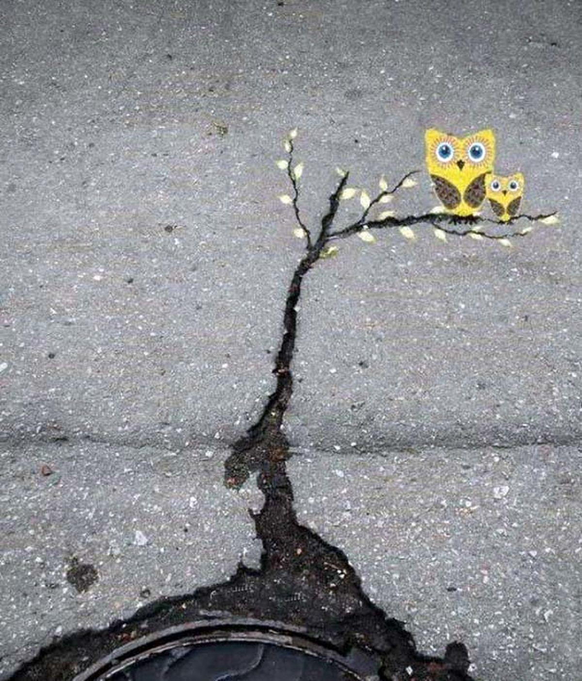 خلاقیت دیدنی با شکاف آسفالت خیابان
