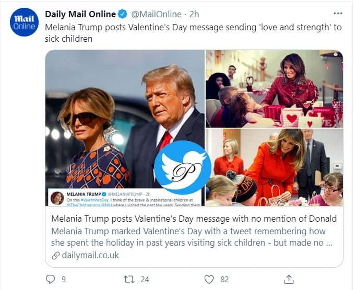پیام ولنتاین ملانیا ترامپ جنجالی شد/ ابراز عشق ملانیا به شخصی دیگر + توئیت