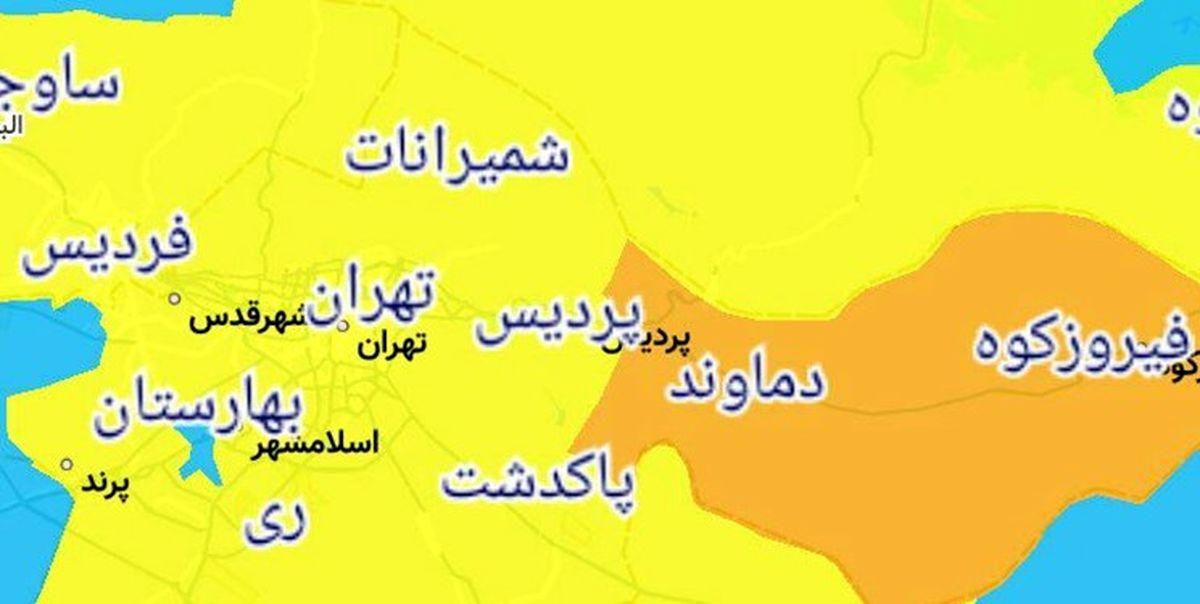 جدیدترین وضعیت رنگبندی کرونایی شهرهای تهران + نقشه