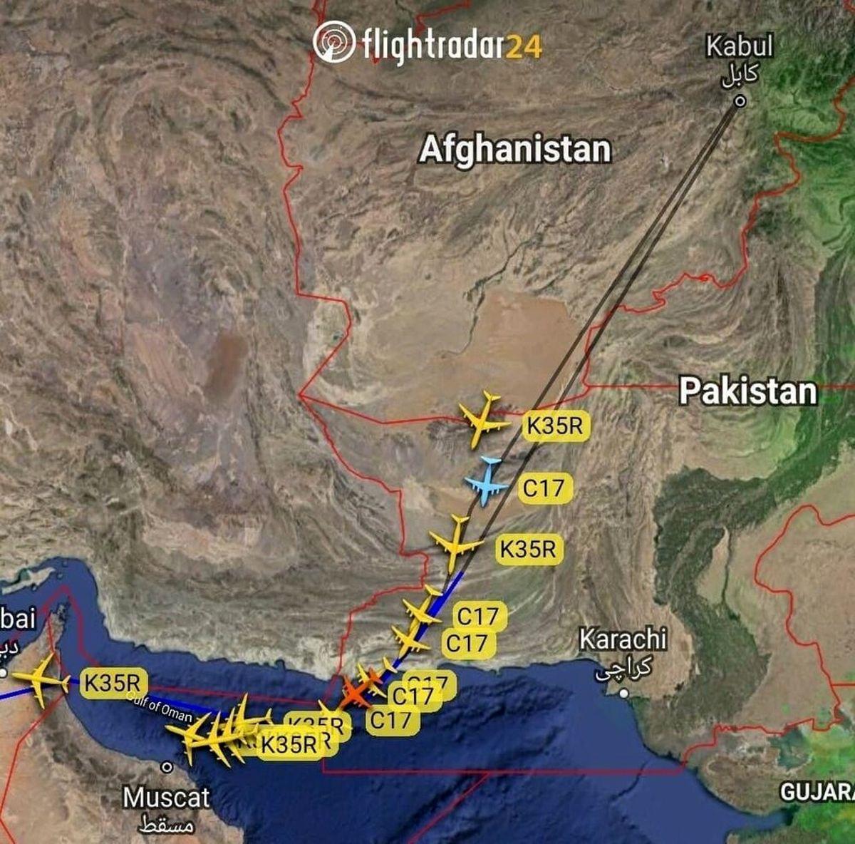 مسیر هواپیماهای آمریکایی در خروج از افغانستان