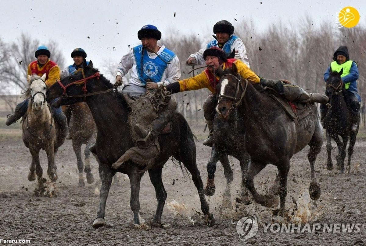 تصاویر خفن از مسابقه بُزکشی در قرقیزستان