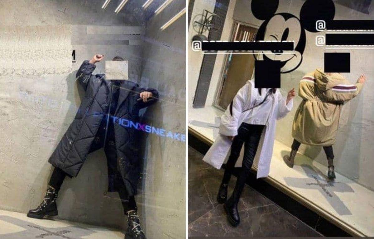 مانکنهای زنده خانم در ویترین مغازهای در کرمانشاه+عکس