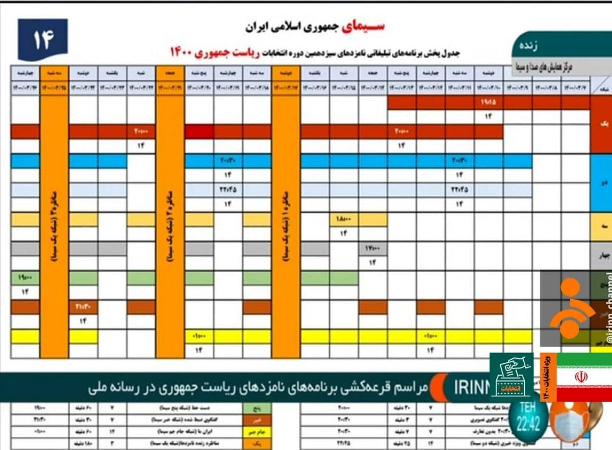 برنامههای انتخاباتی نامزدهای ریاست جمهوری در رسانه ملی - امروز جمعه ۷ خرداد