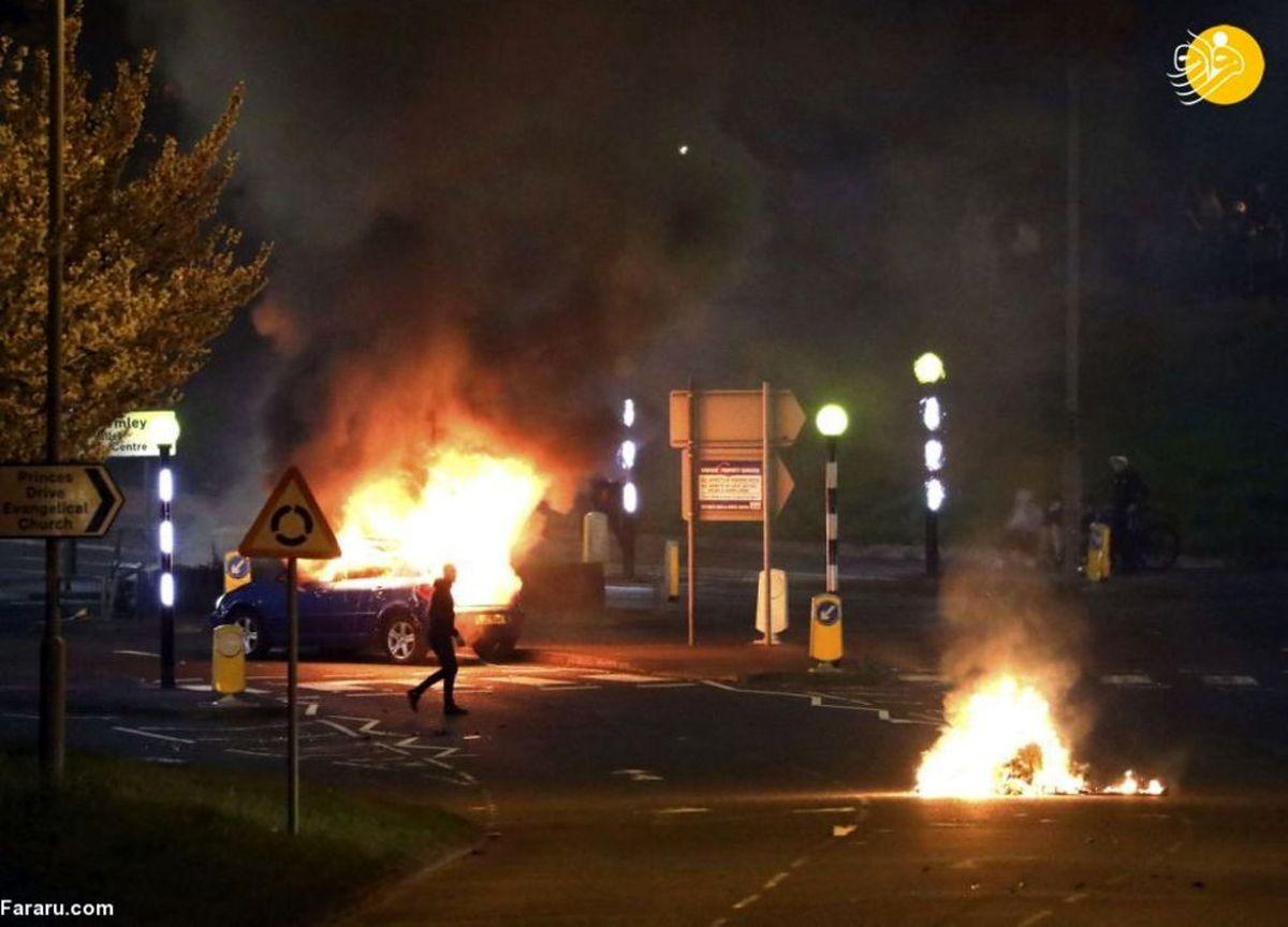 تصاویری آتشین از اعتراضات خشونت بار در بلفاست