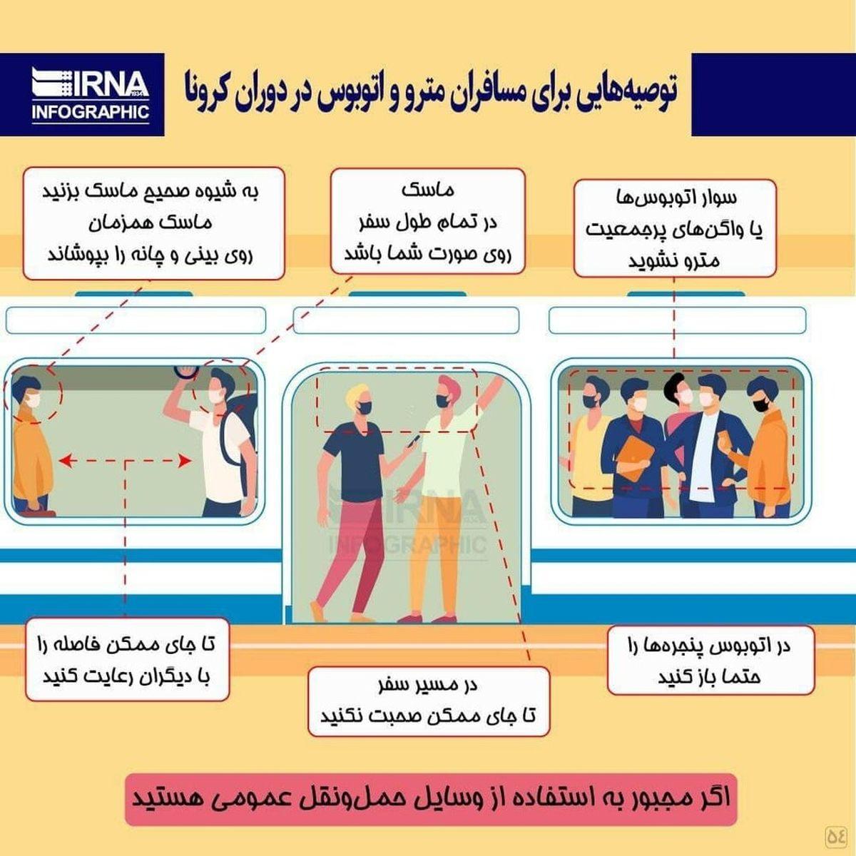 توصیه های مهم برای  مسافران مترو و اتوبوس